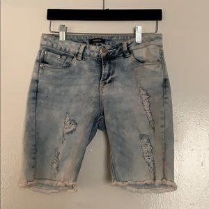 Kenzie Acid Wash Destroyed Bermuda Shorts